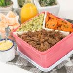 MARMITA COMPLETA: Carne Louca + Arroz Verde com Brócolis + Cenouras Assadas