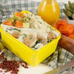 MARMITA COMPLETA: Bisteca Cremosa + Legumes Salteados na Manteiga