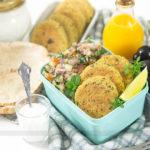 MARMITA COMPLETA: Falafel Assado + Tabule + Molho de Alho!